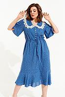 Женское летнее из вискозы синее большого размера платье ELLETTO 1842 васильковый 48р.
