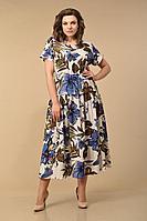 Женское осеннее из вискозы нарядное платье Lady Style Classic 1976/1 бежево_синий_цветы 48р.