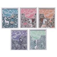 Тетрадь А5, 80 листов в клетку, на гребне 'Девочка и единорог', обложка мелованный картон, глянцевая