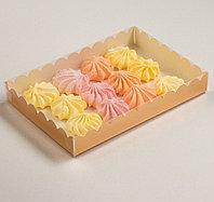 Коробочка для печенья с PVC крышкой, золотая, 22 х 15 х 3 см