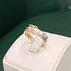 Золотое кольцо с цирконом и белой эмалью / размер 17, 5  (Италия)