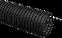 Труба гофрированная ПНД d 25 с зондом (25 м) ИЭК черный
