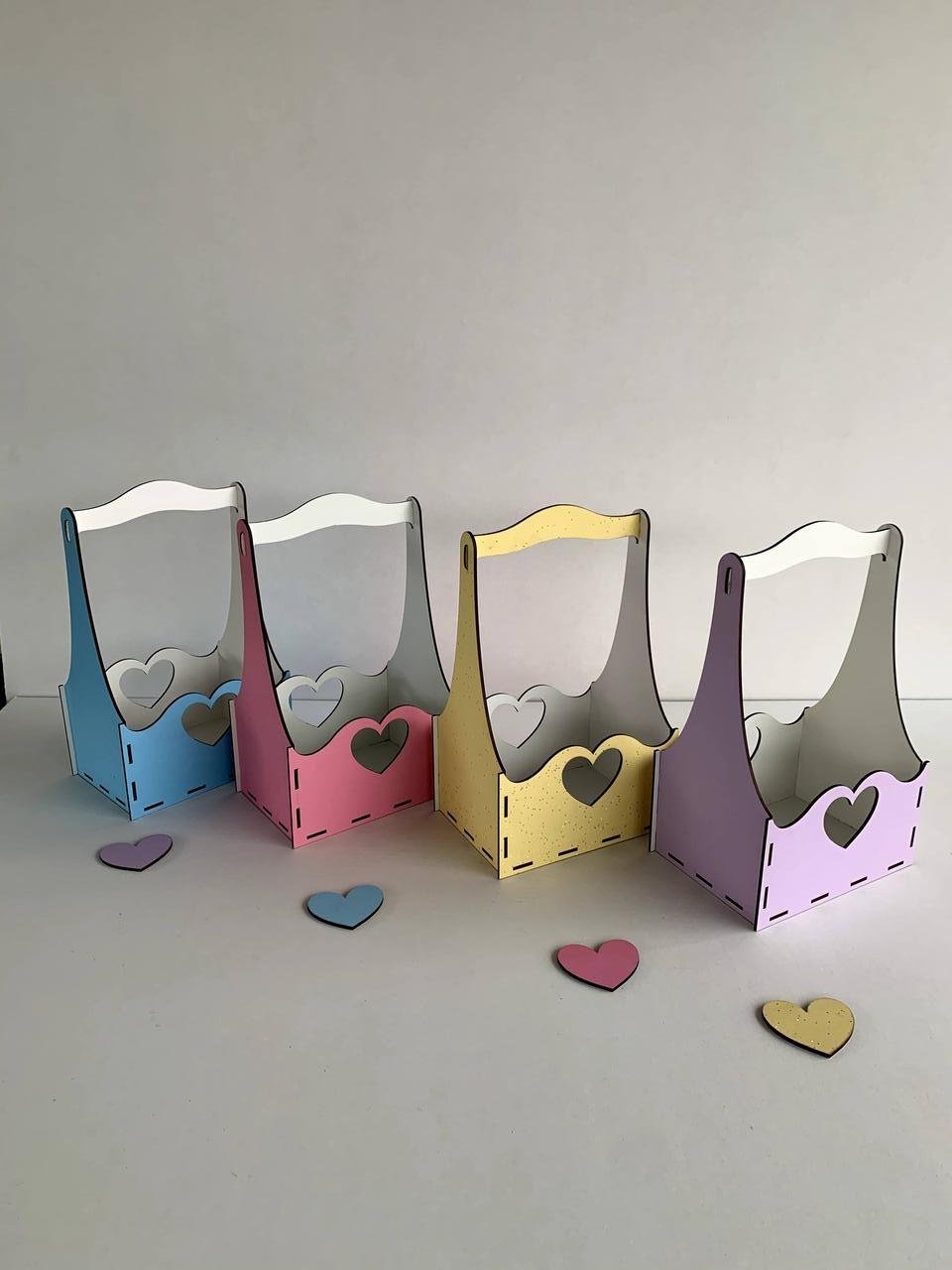 """Подарочная корзинка """"Сердечки"""" под цветы или любое другое наполнение - фото 1"""