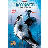 Альбом для рисования 20 листов с бумагой для акварели на клею ErichKrause® Птицы жарких стран, А4,