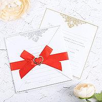 Свадебное приглашение с брошью «Ты+Я=Семья», МИКС с тиснением, 12 х 12 см