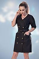 Женское летнее льняное черное платье Golden Valley 4733 черный 46р.
