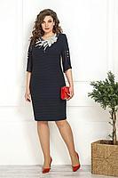 Женское летнее синее нарядное большого размера платье Solomeya Lux 824 50р.