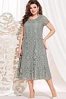 Женское осеннее хлопковое зеленое нарядное большого размера платье Vittoria Queen 13923/1 хаки 60р.