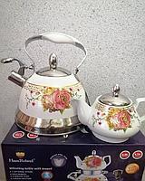 Набор чайников Haus Roland. GERMANY DESING Чайник 3 л. ( Нержавейка покрытая эмалью+ Чайник - Заварник 0,75 л