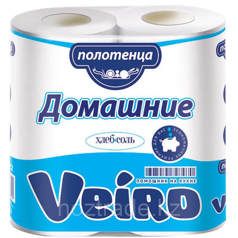 """Полотенца бумажные в рулонах Veiro """"Домашние"""", 2-слойные, 12,5м/рул, тиснение, белые, 2шт."""
