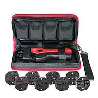 Кримпер для опрессовки наконечников с набором из восьми матриц в тканевой сумке СТК+8
