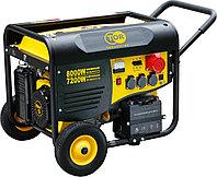 Генератор бензиновый TOR TR8500EW 7,5кВт 220В 25л с кнопкой запуска и колесами