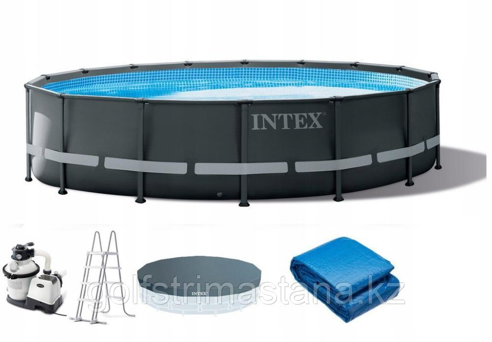 26326 Каркасный бассейн Ultra XTR Frame 488х122см, 19156л, песч.фил.-нас. 4500л\ч, лестница, тент, подст.