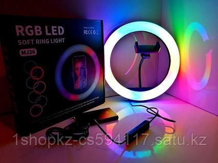 Кольцевая Селфи лампа RGB 33см, фото 2