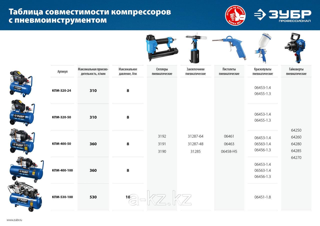 Компрессор воздушный, 320 л/мин, 50 л, 2200 Вт, ЗУБР - фото 5