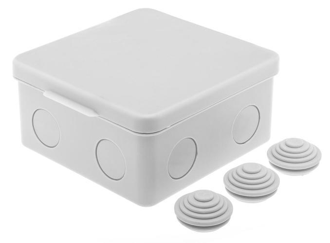 GUSI Коробка распред. 100х100х55 без отверстий (3 муфты), IP54, ОП, серый