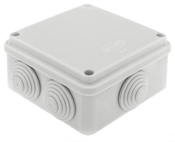 GUSI Коробка распред. 100×100×50 (6 муфт д32), крышка на винтах, IP55, ОП, серый