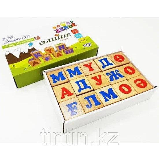 Деревянные кубики с буквами казахского алфавита