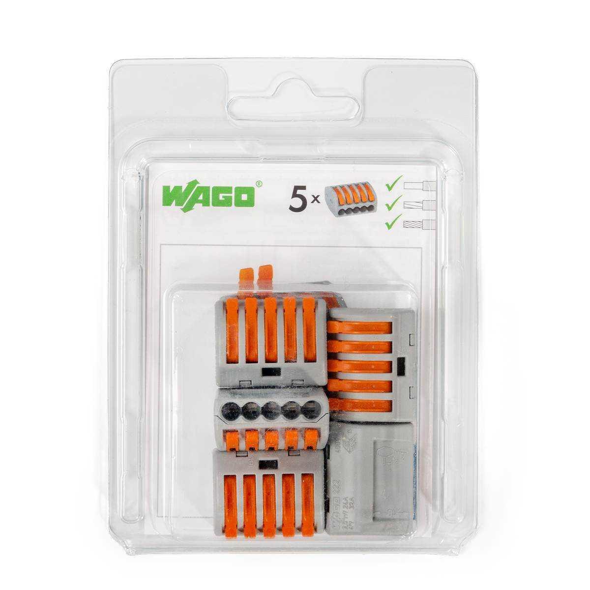Мини-упаковка рычажковых универсальных клемм «Wago» в блистерах (без контактной пасты) 222–412/996-010