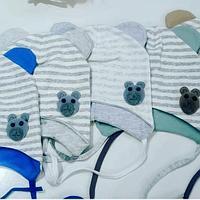 Шапочка с ушками на завязках для новорожденных