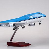 Модель самолета Boeing 747 в ливрее авиакомпании KLM, с LED подсветкой, масштаб 1/150