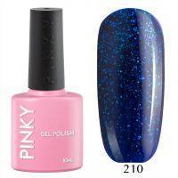 №210 Гель-лак PINKY Classic Сияние Сапфира 10мл. (чистый синий с мерцающим мелким синим и зеленым блеском)