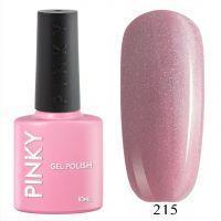 №215 Гель-лак PINKY Classic Розовый Коралл 10мл. (розовый натуральный с голографическим микрошиммером)