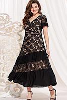 Женское летнее нарядное большого размера платье Vittoria Queen 13773 черный-телесный 60р.