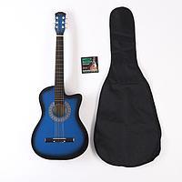 Набор для начинающего гитариста, синий: акустическая гитара, чехол, струны
