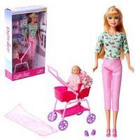 Кукла модель 'Молодая Мама' с ребенком, коляской и аксессуарами