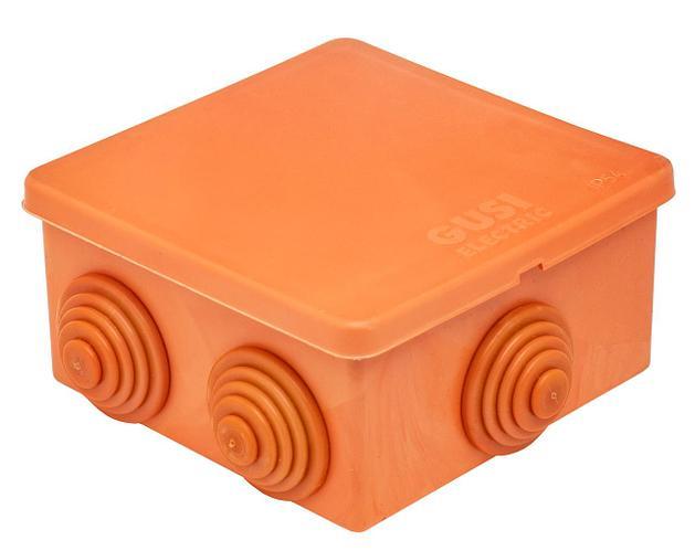 GUSI Коробка распред. 80×80×40 (6 муфт д26), IP54, ОП, оранжевый, Негорючая, ПВ-0
