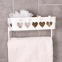 Держатель для ванных принадлежностей на липучке «Сердца», 26×10,5×6,7 см, цвет МИКС