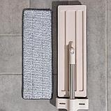 Швабра плоская с вертикальным отжимом Доляна, стальная ручка 125 см, 2 насадки из микрофибры 35×14 см, фото 8