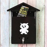 Ящик почтовый с замком, вертикальный, «Домик», чёрный