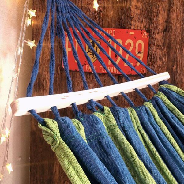 Гамак подвесной складной с деревянными планками 205х150 см в синих оттенках - фото 5
