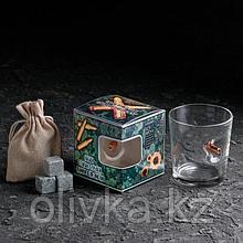 """Набор стакан и камни для виски """"Военный 2"""", с пулей, 3 камня в мешочке, 250 мл"""