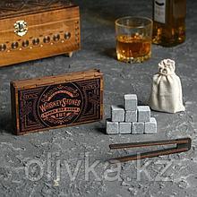 """Камни для виски """"WESTERN"""", в шкатулке на магнитах, 8 шт с щипцами"""