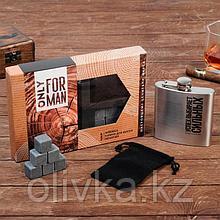 """Подарочный набор """"Only for man"""", фляга, камни для виски, мешочек"""