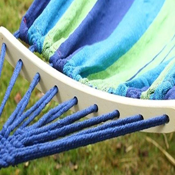 Гамак подвесной складной с деревянными планками 205х150 см в синих оттенках - фото 9