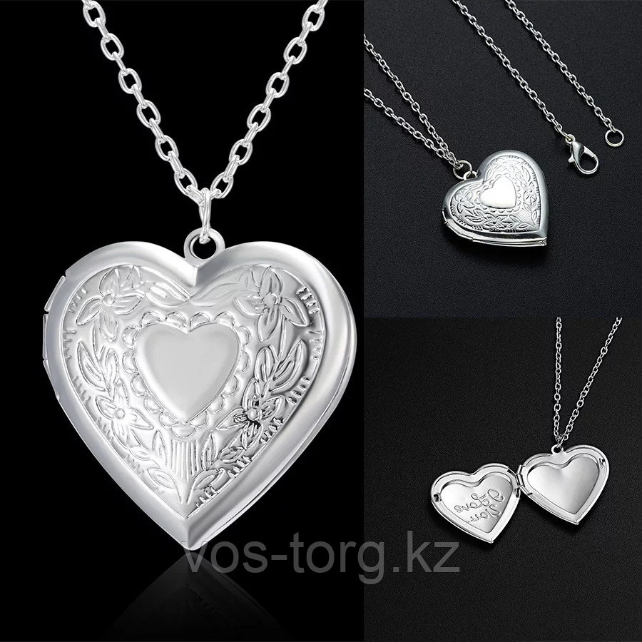 """Медальон на цепочке """"Мое сердце"""" серебрение"""