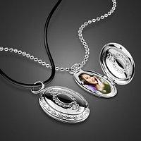 """Кулон-медальон на цепочке """"Медальон-виньетка"""" серебрение"""
