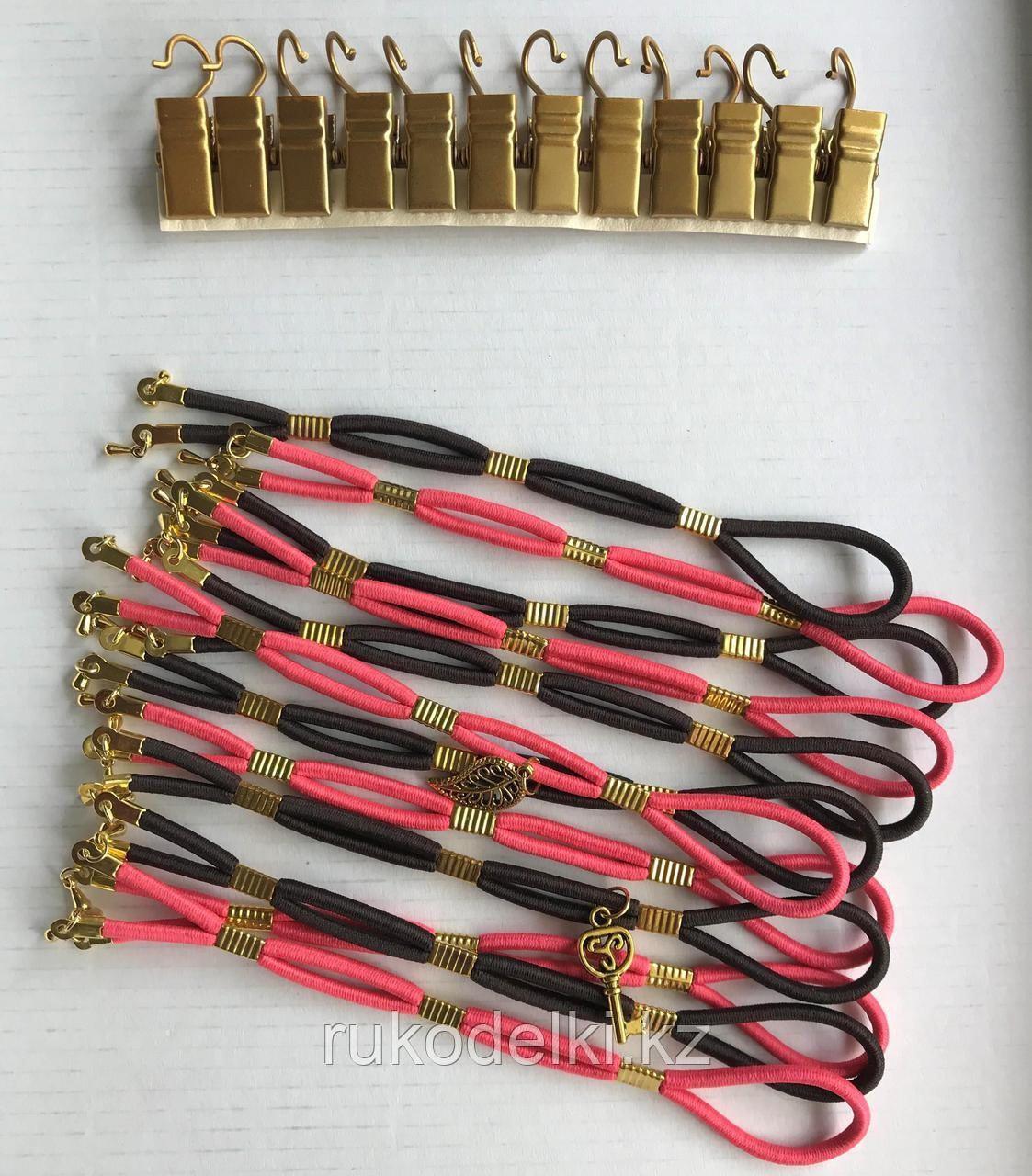 Боковая натяжка для канвы в золоте Микс Шоколад-Коралл