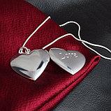 """Медальон на цепочке """"Два сердца"""" серебрение, фото 6"""