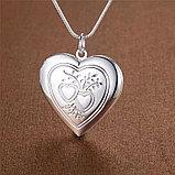 """Медальон на цепочке """"Два сердца"""" серебрение, фото 3"""