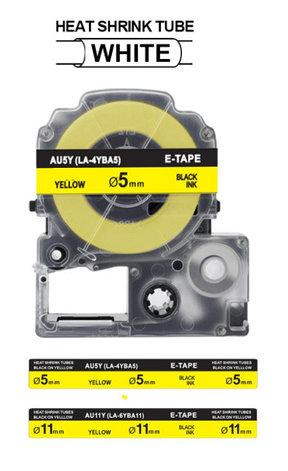 Картридж для Epson LW-400, термоусадочная трубка  (5 мм x 2,5м,  черный на желтом) BLK-3YBA5/BU5Y, фото 2
