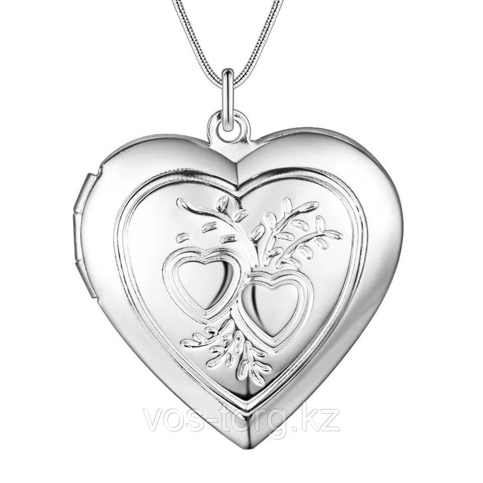 """Медальон на цепочке """"Два сердца"""" серебрение"""