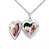 """Медальон на цепочке """"Два сердца"""" серебрение, фото 2"""