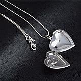 """Медальон на цепочке """"Два сердца"""" серебрение, фото 4"""