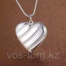 """Медальон на цепочке """"Сердечко классика"""" серебрение"""