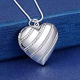 "Медальон на цепочке ""Сердечко классика"" серебрение, фото 7"